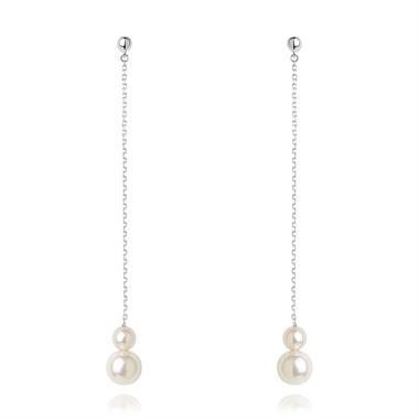 18ct White Gold Classic Cultured Double Pearl Drop Earrings thumbnail