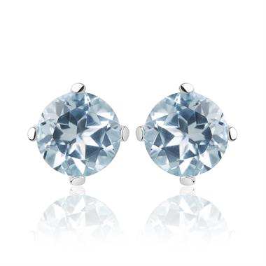 18ct White Gold Blue Topaz Solitaire Stud Earrings thumbnail