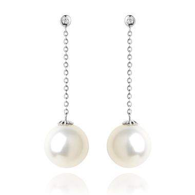18ct White Gold Pearl and Diamond Chain Drop Earrings thumbnail