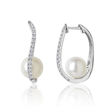 18ct White Gold Freshwater Pearl and Diamond Hoop Earrings thumbnail