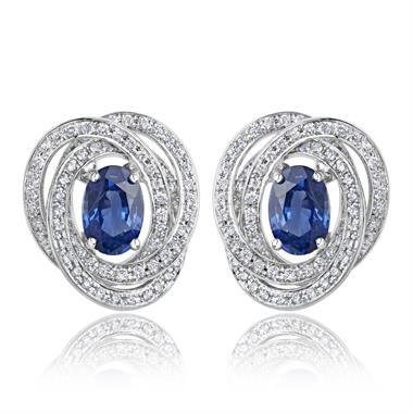 18ct White Gold Sapphire and Diamond Knot Halo Earrings thumbnail