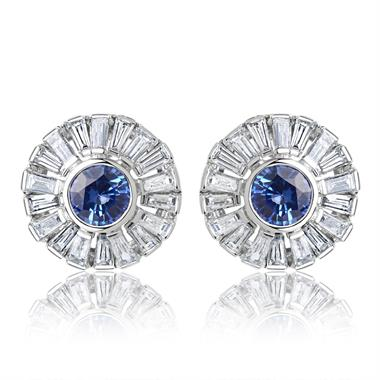 18ct White Gold Sapphire and Baguette Cut Diamond Cluster Stud Earrings thumbnail