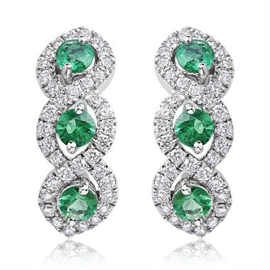 Oriana 18ct White Gold Emerald and Diamond Semi Hoop Earrings thumbnail