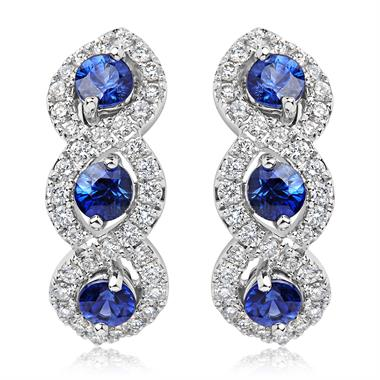 Oriana 18ct White Gold Sapphire and Diamond Semi Hoop Earrings thumbnail
