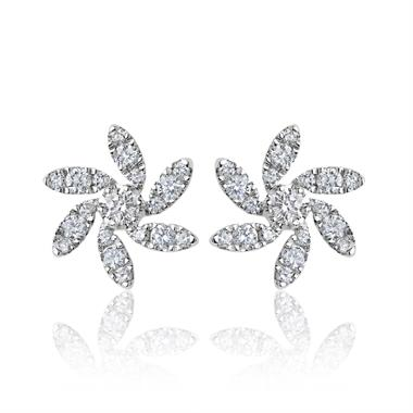 18ct White Gold Flower Design Diamond Stud Earrings 0.38ct thumbnail
