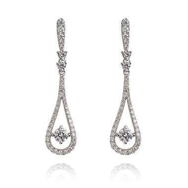 18ct White Gold Diamond Dew Drop Earrings thumbnail