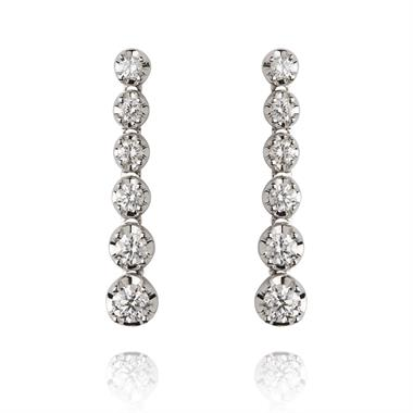 18ct White Gold Graduated Diamond Drop Earrings thumbnail