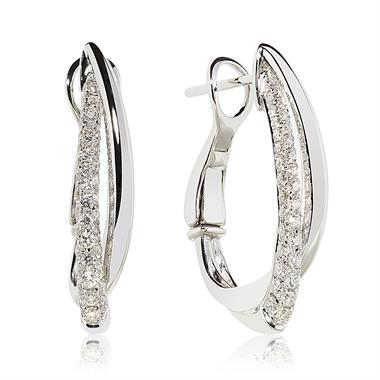 18ct White Gold Crossover Diamond Hoop Earrings thumbnail