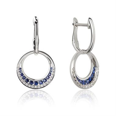 18ct White Gold Circle Sapphire and Diamond Drop Earrings thumbnail