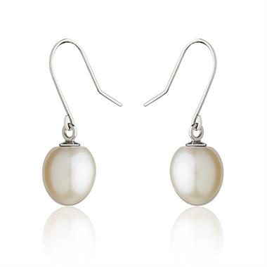 18ct White Gold White Pearl Drop Earrings thumbnail