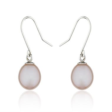 18ct White Gold Pink Pearl Drop Earrings thumbnail