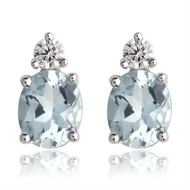 18ct White Gold Aquamarine and Diamond Stud Earrings thumbnail