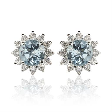 18ct White Gold Flower Aquamarine and Diamond Stud Earrings thumbnail