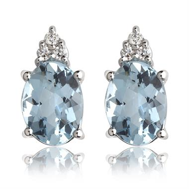 18ct White Gold Oval Aquamarine and Diamond Stud Earrings thumbnail