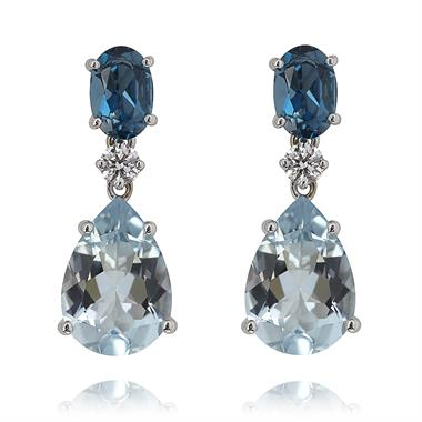 Sweet Pea 18ct White Gold  Blue Topaz and Aquamarine Drop Earrings thumbnail