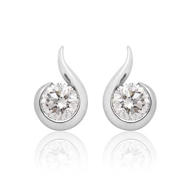 18ct White Gold Swirl Design Diamond Stud Earrings thumbnail