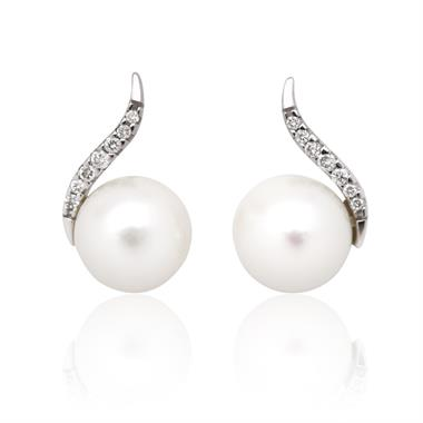 18ct White Gold Freshwater Pearl and Diamond Drop Earrings thumbnail