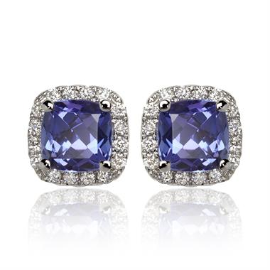 18ct White Gold Tanzanite and Diamond Halo Stud Earrings thumbnail