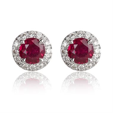 Camellia 18ct White Gold Ruby and Diamond Earrings thumbnail