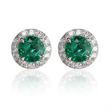 Camellia 18ct White Gold Emerald and Diamond Halo Stud Earrings thumbnail