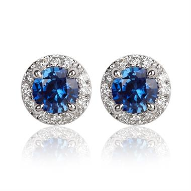 Camellia 18ct White Gold Sapphire and Diamond Halo Stud Earrings thumbnail