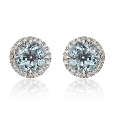 Camellia 18ct White Gold Blue Topaz and Diamond Earrings thumbnail