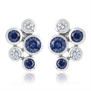 Alchemy 18ct White Gold Sapphire and Diamond Stud Earrings thumbnail