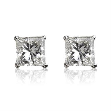 18ct White Gold Princess Cut Diamond Solitaire Stud Earrings 0.20ct thumbnail