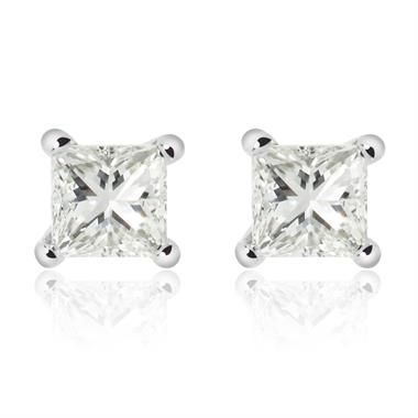18ct White Gold Princess Cut Diamond Solitaire Stud Earrings 0.30ct thumbnail