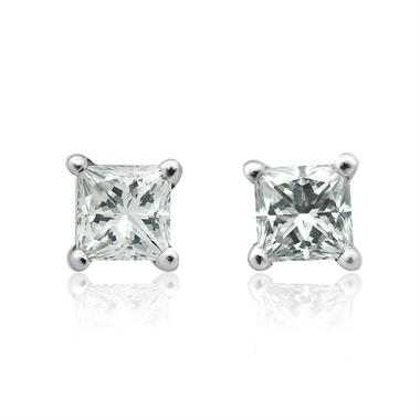 18ct White Gold Princess Cut Diamond Solitaire Stud Earrings 0.50ct thumbnail