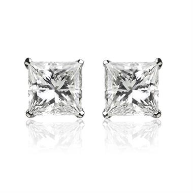 18ct White Gold Princess Cut Diamond Solitaire Stud Earrings 0.80ct thumbnail