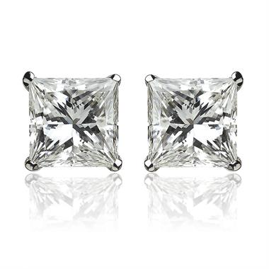 18ct White Gold Princess Cut Diamond Solitaire Stud Earrings 1.00ct thumbnail