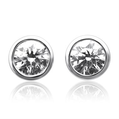 18ct White Gold Diamond Solitaire Stud Earrings 0.60ct thumbnail