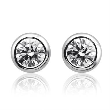 18ct White Gold Rubover 0.50ct Diamond Solitaire Stud Earrings thumbnail