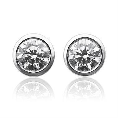 18ct White Gold Rubover 0.75ct Diamond Solitaire Stud Earrings thumbnail