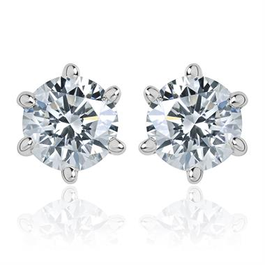 18ct White Gold Six Claw 0.50ct Diamond Solitaire Stud Earrings thumbnail