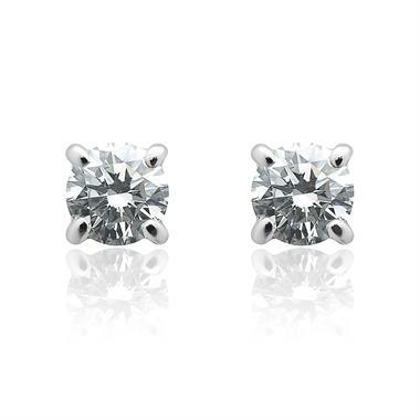 18ct White Gold Classic Design Diamond Solitaire Stud Earrings 0.33ct thumbnail
