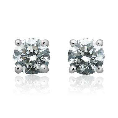 18ct White Gold Classic Design Diamond Solitaire Stud Earrings 1.00ct thumbnail