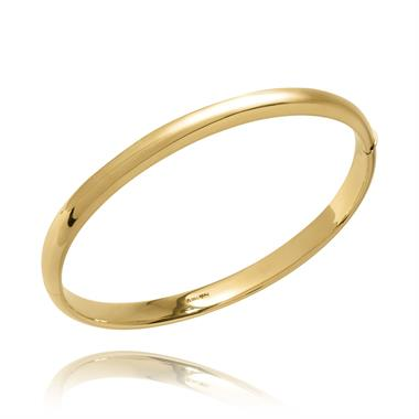 18ct Yellow Gold D-Shape Oval Bangle thumbnail