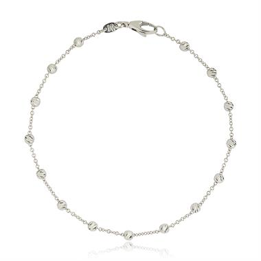 18ct White Gold Faceted Bead Detail Station Bracelet  thumbnail