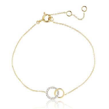 Union 18ct Yellow Gold Circle Diamond Bracelet thumbnail