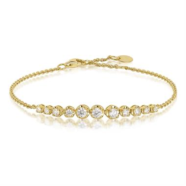 18ct Yellow Gold Graduated Diamond Bracelet thumbnail