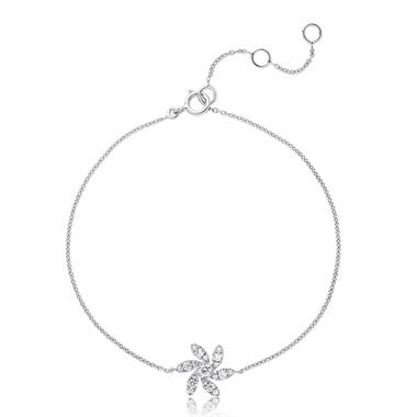 18ct White Gold Flower Design Diamond Bracelet 0.20ct thumbnail