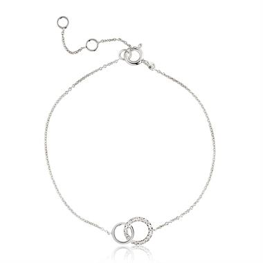 Union 18ct White Gold Circle Diamond Bracelet thumbnail