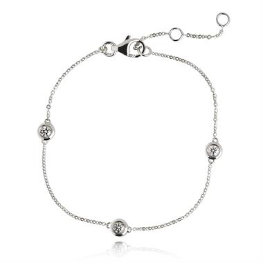 18ct White Gold Diamond Station Bracelet 0.27ct thumbnail