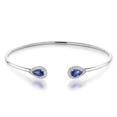 18ct White Gold Pear Shape Sapphire and Diamond Open Bangle thumbnail