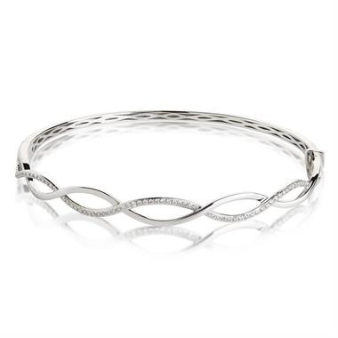 18ct White Gold Plaited Design Diamond Bangle thumbnail