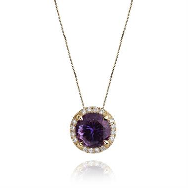 Camellia 18ct Yellow Gold Amethyst and Diamond Halo Pendant thumbnail