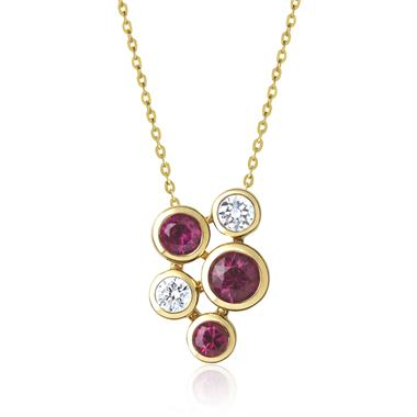 Alchemy 18ct Yellow Gold Ruby and Diamond Pendant - Small thumbnail