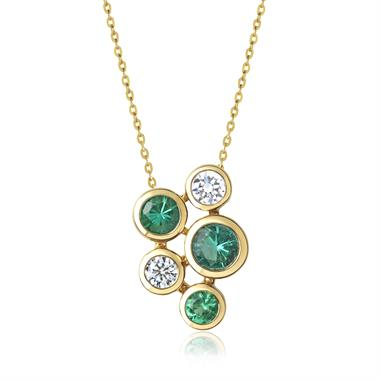 Alchemy 18ct Yellow Gold Emerald and Diamond Pendant - Small thumbnail